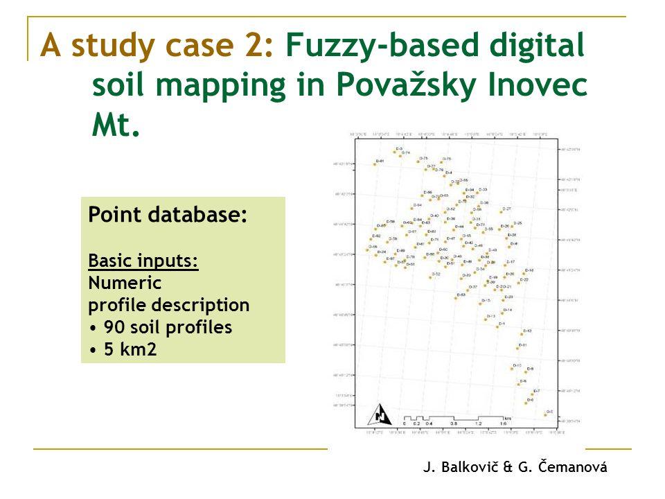 A study case 2: Fuzzy-based digital soil mapping in Považsky Inovec Mt. Point database: Basic inputs: Numeric profile description 90 soil profiles 5 k