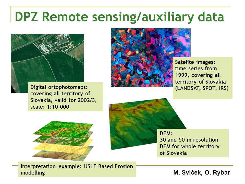DPZ Remote sensing/auxiliary data Digital ortophotomaps: covering all territory of Slovakia, valid for 2002/3, scale: 1:10 000 Satelite images: time series from 1999, covering all territory of Slovakia (LANDSAT, SPOT, IRS) DEM: 30 and 50 m resolution DEM for whole territory of Slovakia Interpretation example: USLE Based Erosion modelling M.