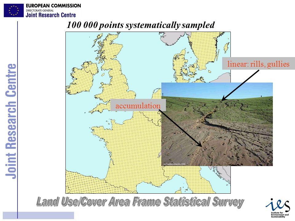15 100 000 points systematically sampled linear: rills, gullies accumulation