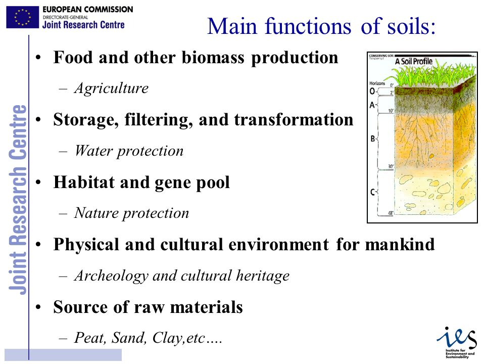 5 Food and other biomass production –Agriculture Storage, filtering, and transformation –Water protection Habitat and gene pool –Nature protection Physical and cultural environment for mankind –Archeology and cultural heritage Source of raw materials –Peat, Sand, Clay,etc….