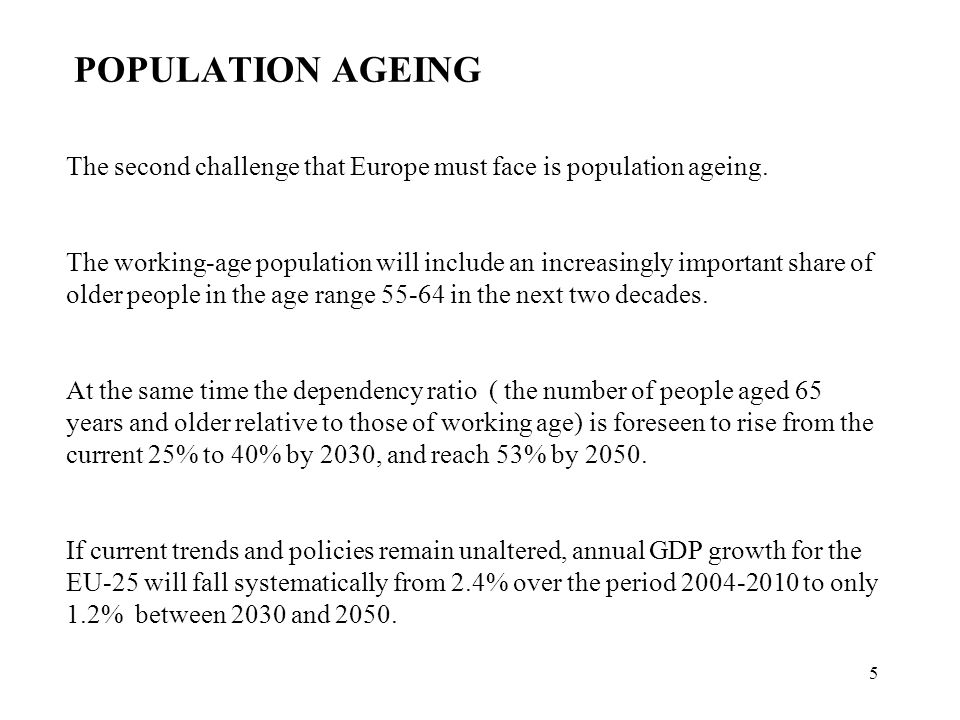 6 It is projected (UE Commission, 2006) that age-related expenditure will rise by around 4% of GDP up to 2050, representing an increase of 10% in public spending.