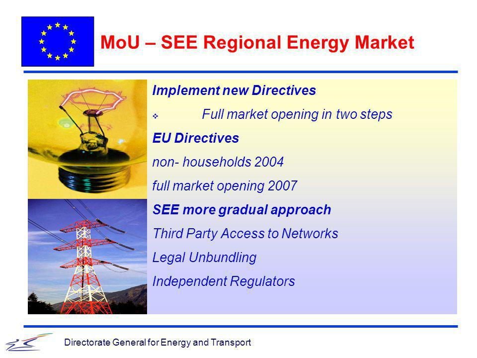 Directorate General for Energy and Transport MoU – SEE Regional Energy Market Implement new Directives Full market opening in two steps EU Directives non- households 2004 full market opening 2007 SEE more gradual approach Third Party Access to Networks Legal Unbundling Independent Regulators