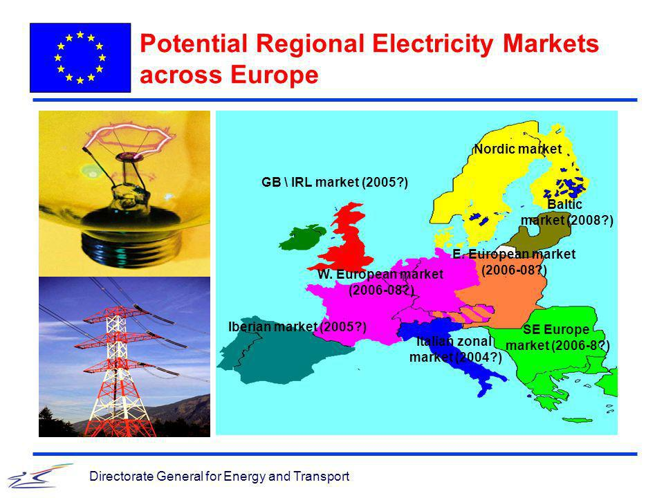 Directorate General for Energy and Transport Potential Regional Electricity Markets across Europe W. European market (2006-08?) Nordic market Italian