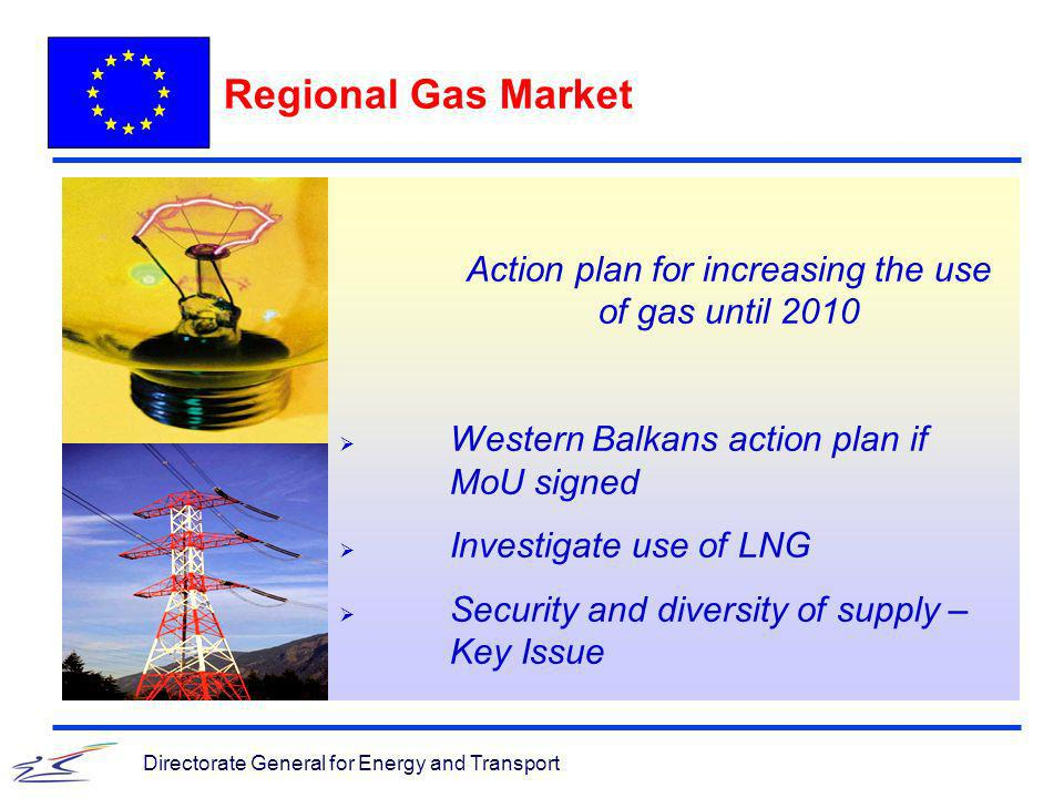 Directorate General for Energy and Transport Regional Gas Market Action plan for increasing the use of gas until 2010 Western Balkans action plan if MoU signed Investigate use of LNG Security and diversity of supply – Key Issue