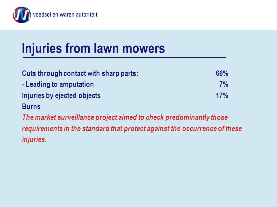 Injuries from lawn mowers Cuts through contact with sharp parts: 66% - Leading to amputation 7% Injuries by ejected objects 17% Burns The market surve