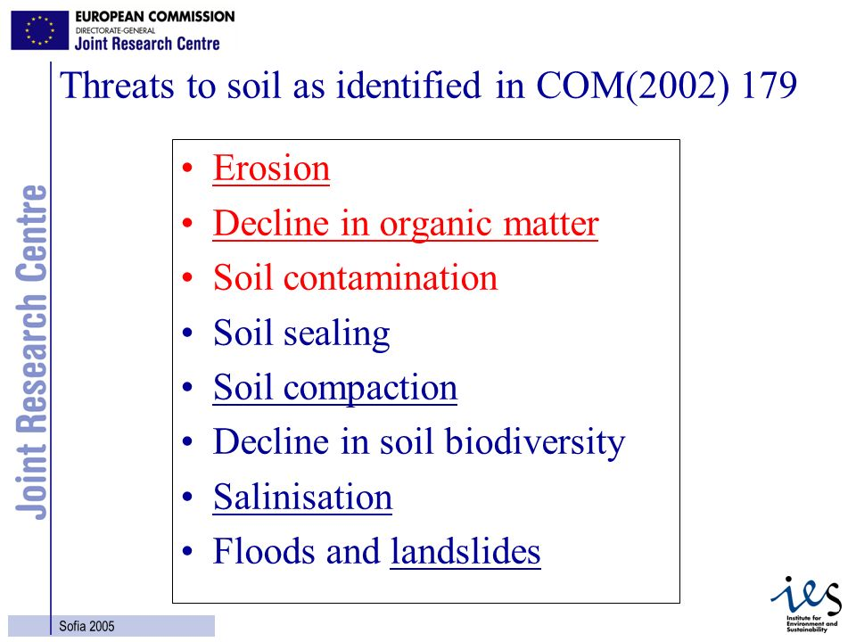 8 Sofia 2005 Threats to soil as identified in COM(2002) 179 Erosion Decline in organic matter Soil contamination Soil sealing Soil compaction Decline