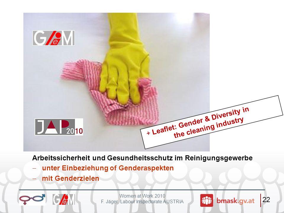 Women at Work 2010 F. Jäger, Labour Inspectorate AUSTRIA 22 Arbeitssicherheit und Gesundheitsschutz im Reinigungsgewerbe unter Einbeziehung of Gendera