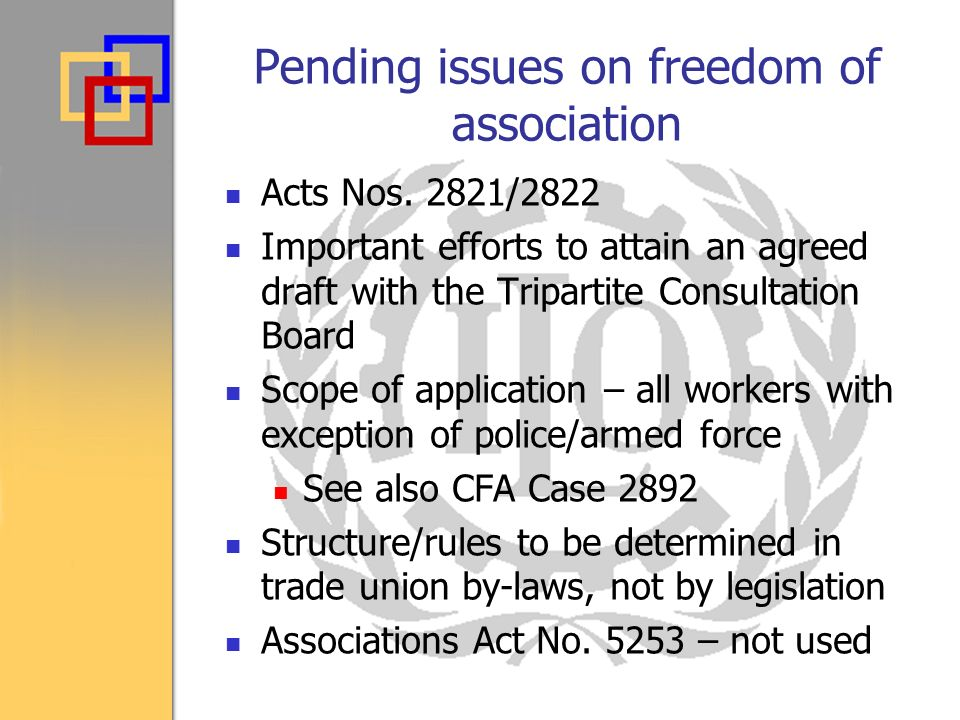Pending issues on freedom of association Acts Nos.