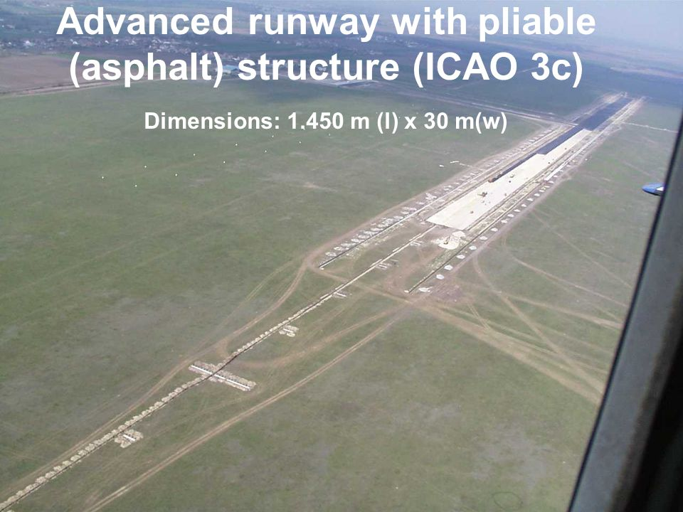 Advanced runway with pliable (asphalt) structure (ICAO 3c) Dimensions: m (l) x 30 m(w)