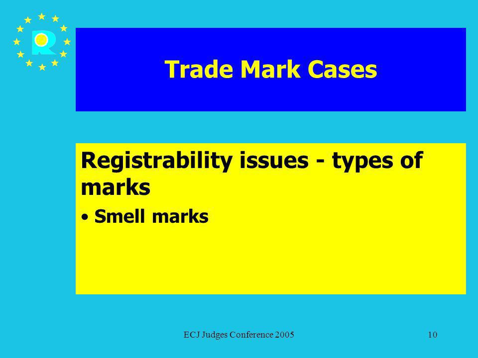 ECJ Judges Conference 200510 Trade Mark Cases Registrability issues - types of marks Smell marks