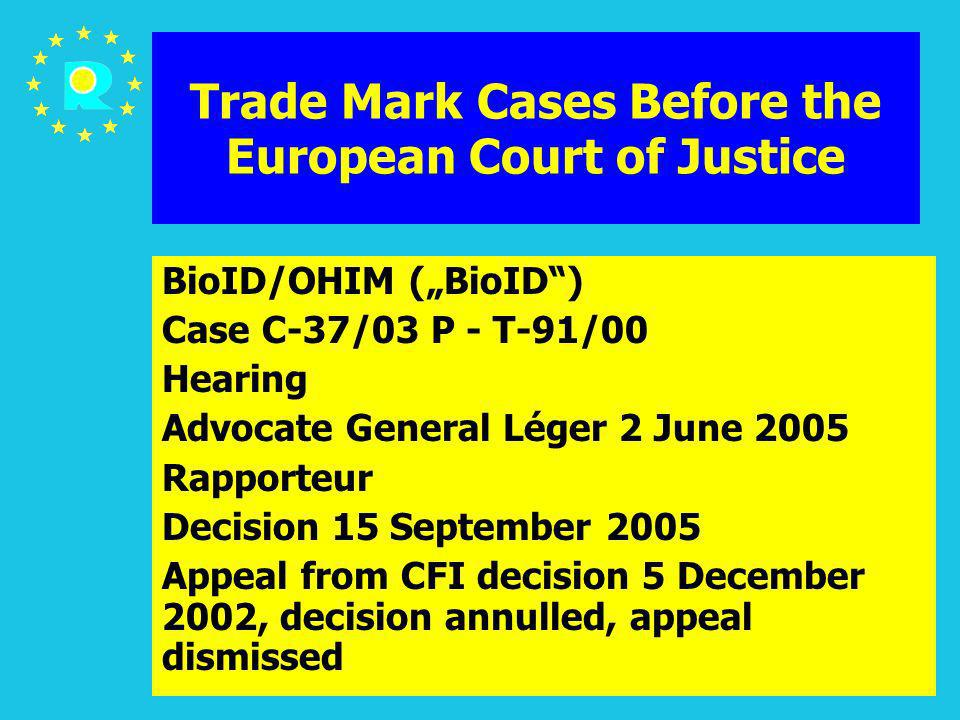 ECJ Judges Conference 2005106 Trade Mark Cases Before the European Court of Justice BioID/OHIM (BioID) Case C-37/03 P - T-91/00 Hearing Advocate Gener