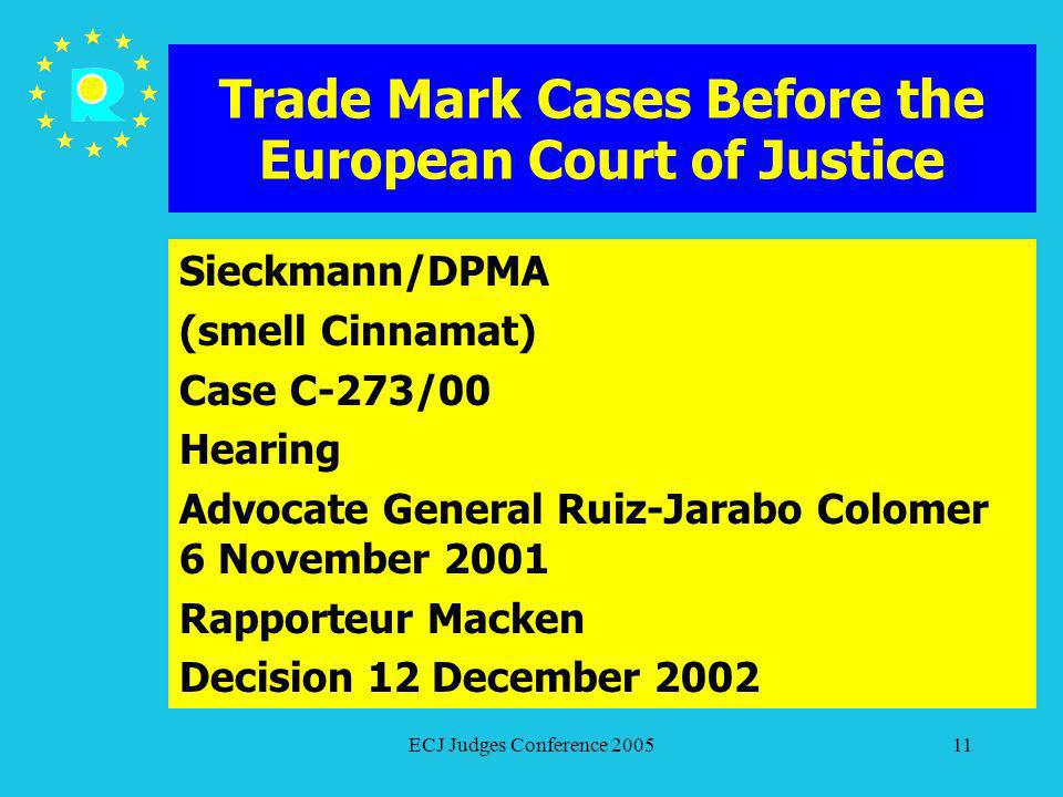 ECJ Judges Conference 200511 Trade Mark Cases Before the European Court of Justice Sieckmann/DPMA (smell Cinnamat) Case C-273/00 Hearing Advocate Gene