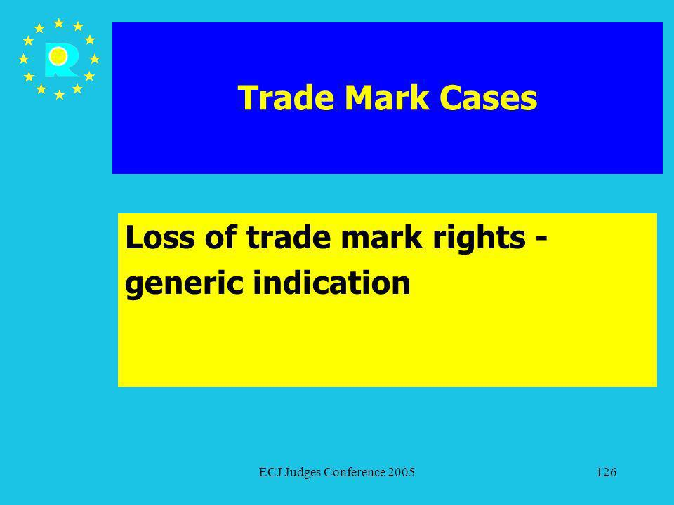 ECJ Judges Conference 2005126 Trade Mark Cases Loss of trade mark rights - generic indication