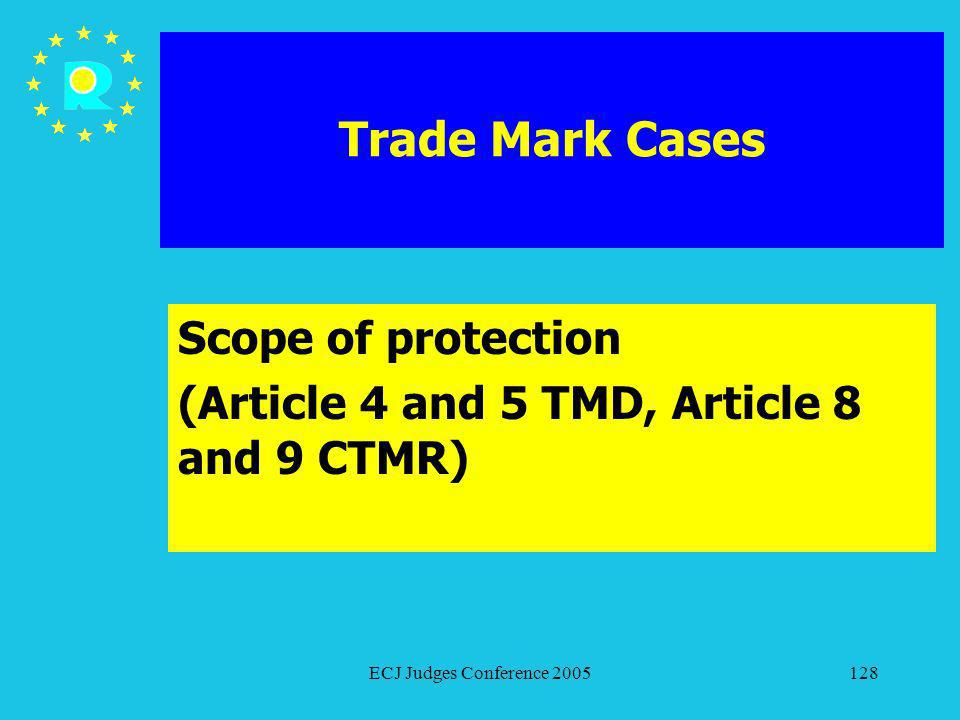 ECJ Judges Conference 2005128 Trade Mark Cases Scope of protection (Article 4 and 5 TMD, Article 8 and 9 CTMR)