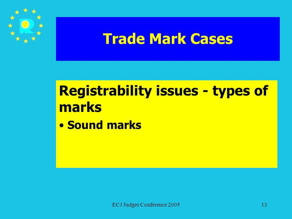 ECJ Judges Conference 200513 Trade Mark Cases Registrability issues - types of marks Sound marks