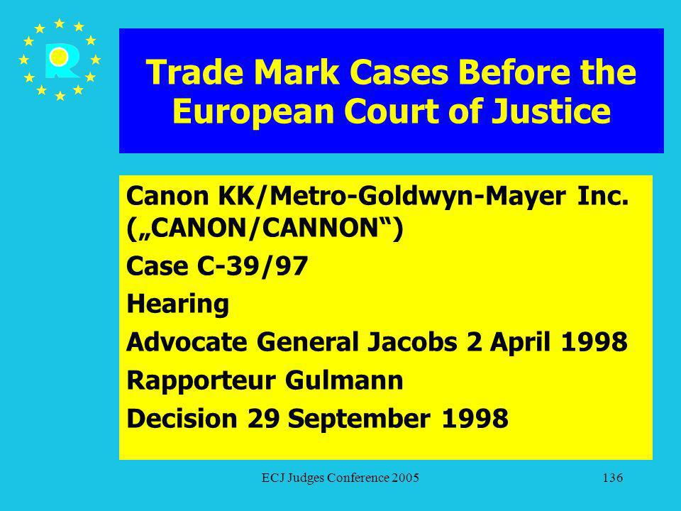 ECJ Judges Conference 2005136 Trade Mark Cases Before the European Court of Justice Canon KK/Metro-Goldwyn-Mayer Inc. (CANON/CANNON) Case C-39/97 Hear