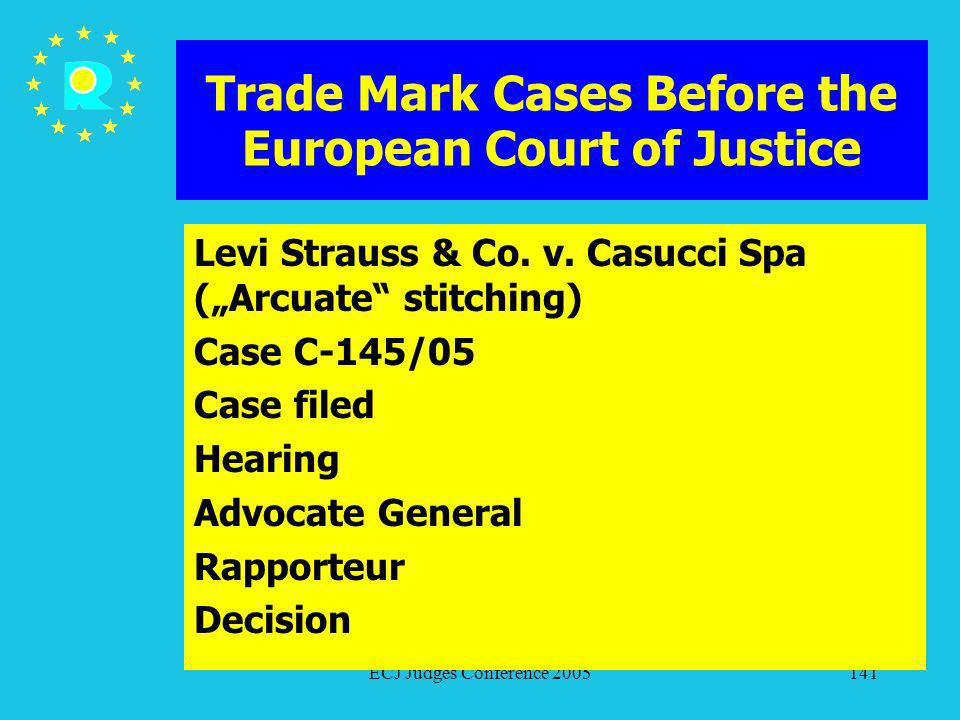 ECJ Judges Conference 2005141 Trade Mark Cases Before the European Court of Justice Levi Strauss & Co. v. Casucci Spa (Arcuate stitching) Case C-145/0