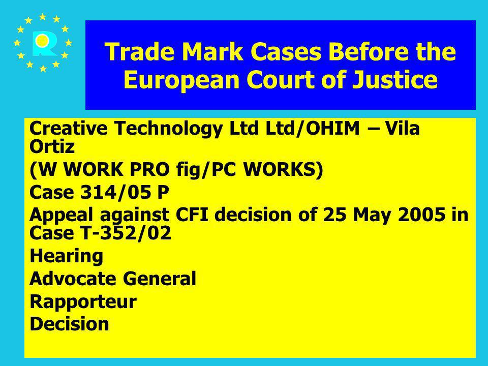 ECJ Judges Conference 2005160 Trade Mark Cases Before the European Court of Justice Creative Technology Ltd Ltd/OHIM – Vila Ortiz (W WORK PRO fig/PC W