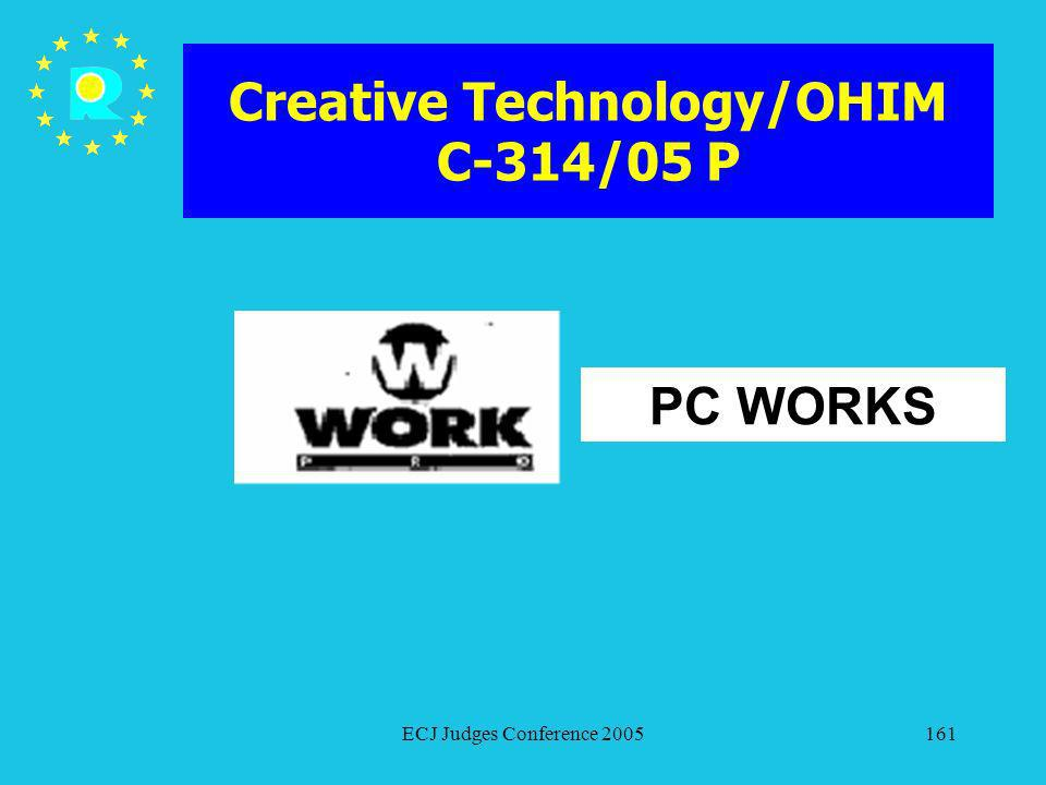 ECJ Judges Conference 2005161 Creative Technology/OHIM C-314/05 P PC WORKS
