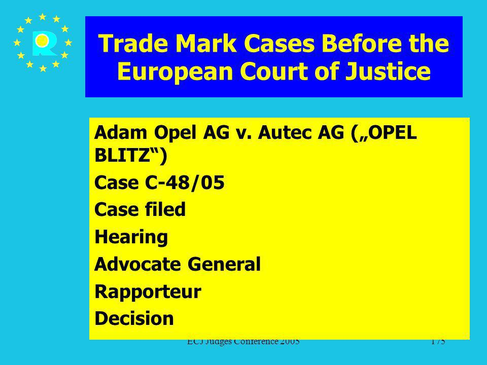 ECJ Judges Conference 2005175 Trade Mark Cases Before the European Court of Justice Adam Opel AG v. Autec AG (OPEL BLITZ) Case C-48/05 Case filed Hear
