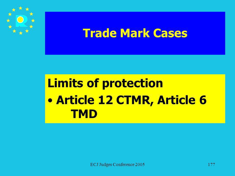 ECJ Judges Conference 2005177 Trade Mark Cases Limits of protection Article 12 CTMR, Article 6 TMD