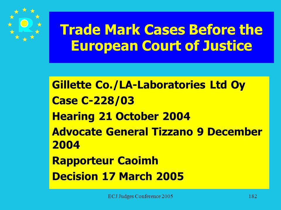ECJ Judges Conference 2005182 Trade Mark Cases Before the European Court of Justice Gillette Co./LA-Laboratories Ltd Oy Case C-228/03 Hearing 21 Octob