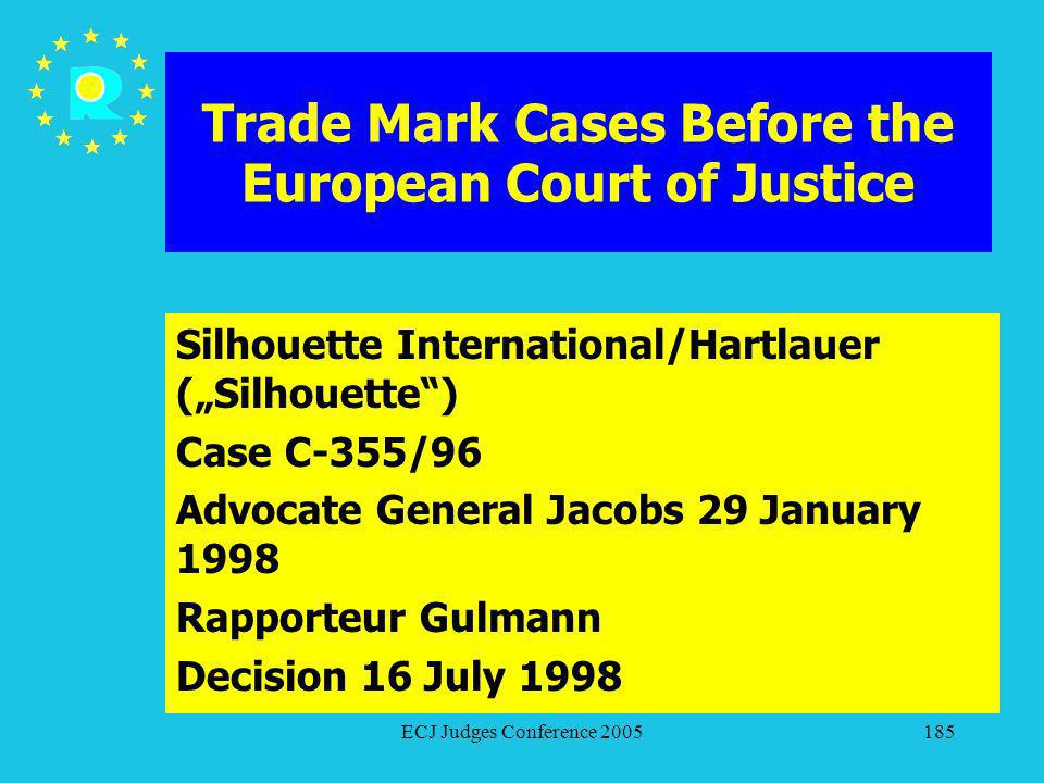 ECJ Judges Conference 2005185 Trade Mark Cases Before the European Court of Justice Silhouette International/Hartlauer (Silhouette) Case C-355/96 Advo