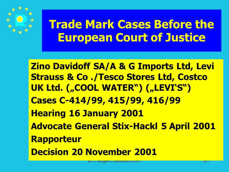ECJ Judges Conference 2005187 Trade Mark Cases Before the European Court of Justice Zino Davidoff SA/A & G Imports Ltd, Levi Strauss & Co./Tesco Store