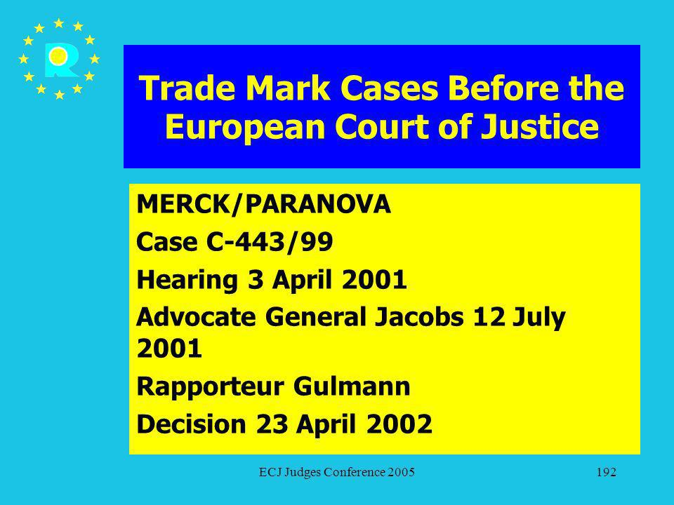 ECJ Judges Conference 2005192 Trade Mark Cases Before the European Court of Justice MERCK/PARANOVA Case C-443/99 Hearing 3 April 2001 Advocate General