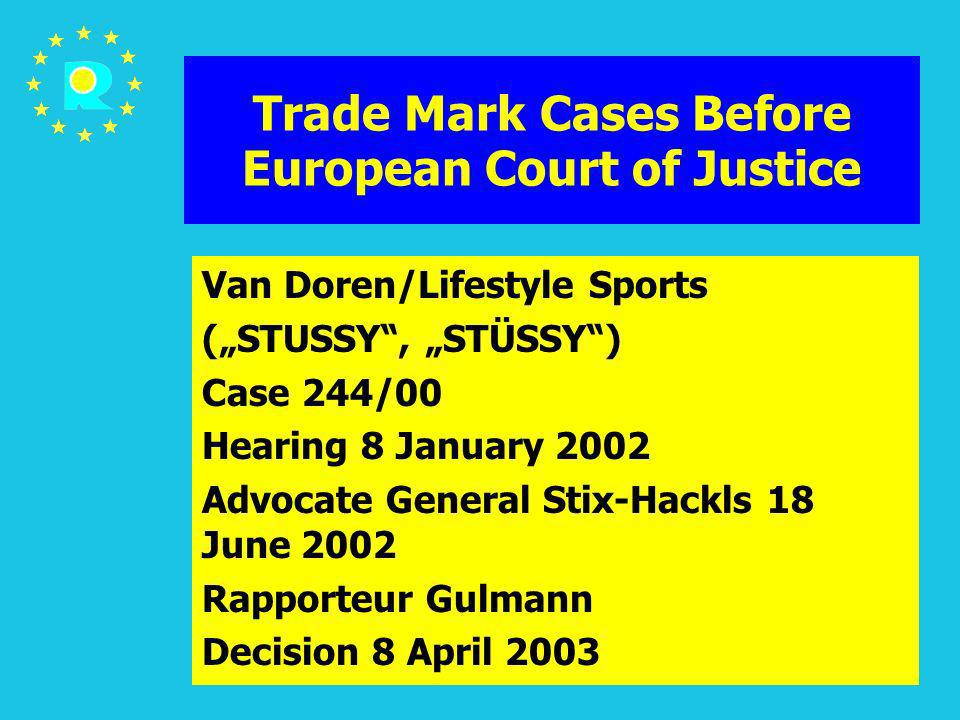ECJ Judges Conference 2005194 Trade Mark Cases Before European Court of Justice Van Doren/Lifestyle Sports (STUSSY, STÜSSY) Case 244/00 Hearing 8 Janu