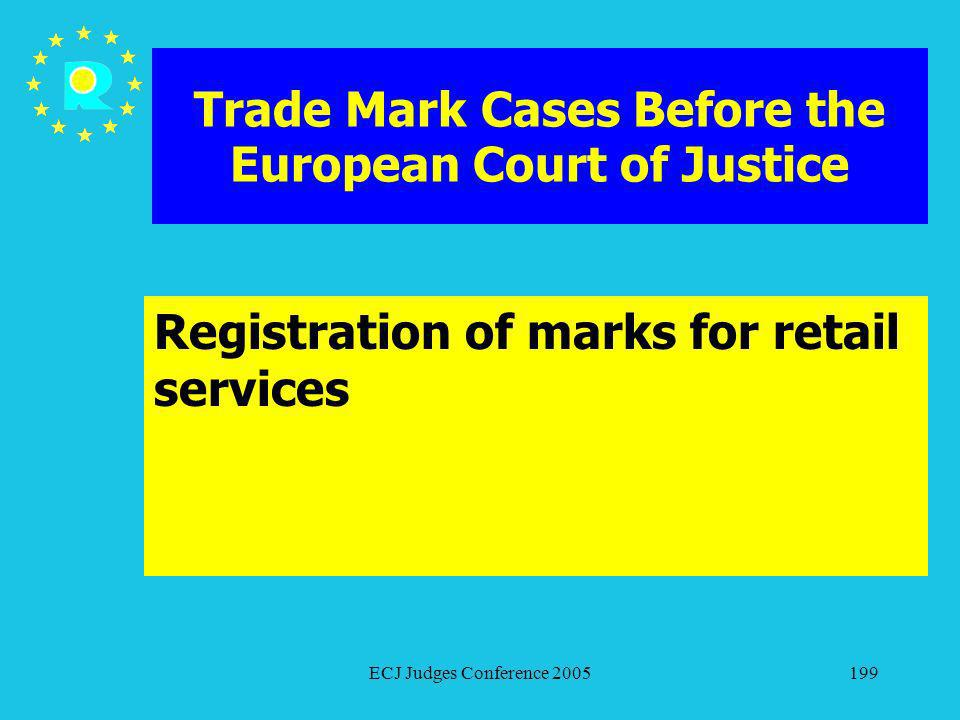 ECJ Judges Conference 2005199 Trade Mark Cases Before the European Court of Justice Registration of marks for retail services
