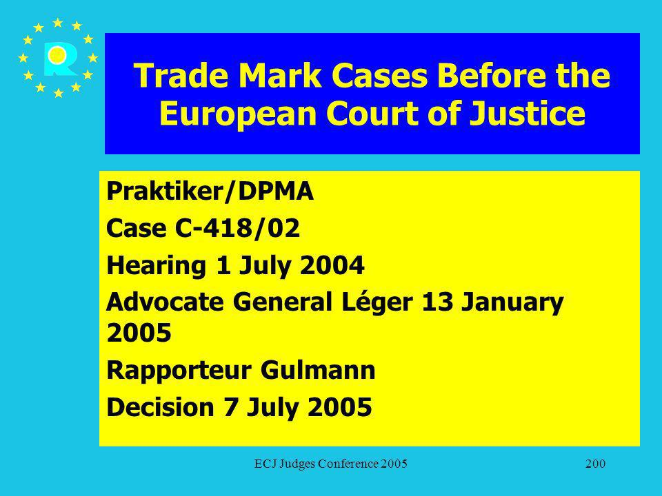 ECJ Judges Conference 2005200 Trade Mark Cases Before the European Court of Justice Praktiker/DPMA Case C-418/02 Hearing 1 July 2004 Advocate General