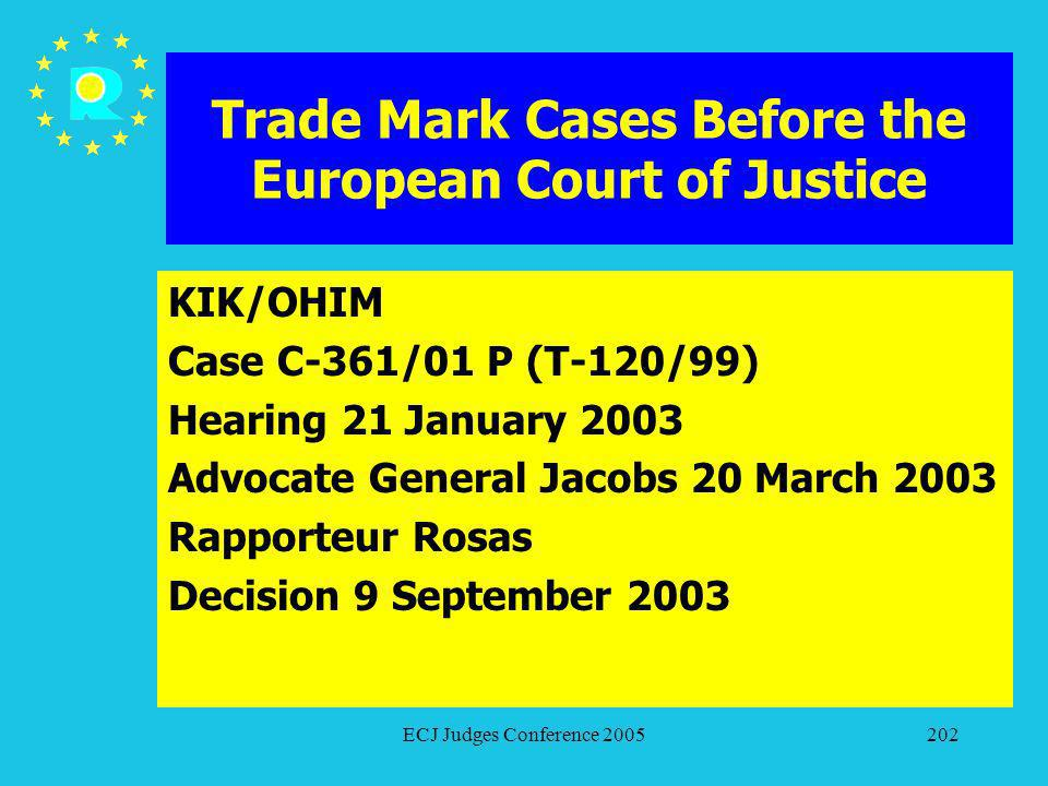 ECJ Judges Conference 2005202 Trade Mark Cases Before the European Court of Justice KIK/OHIM Case C-361/01 P (T-120/99) Hearing 21 January 2003 Advoca