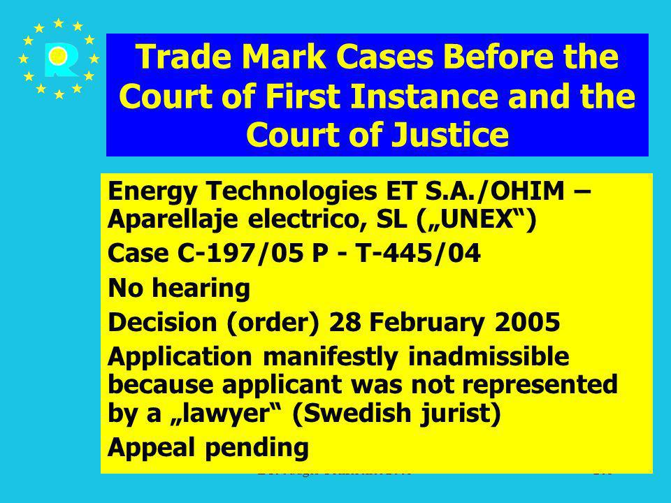 ECJ Judges Conference 2005205 Trade Mark Cases Before the Court of First Instance and the Court of Justice Energy Technologies ET S.A./OHIM – Aparella