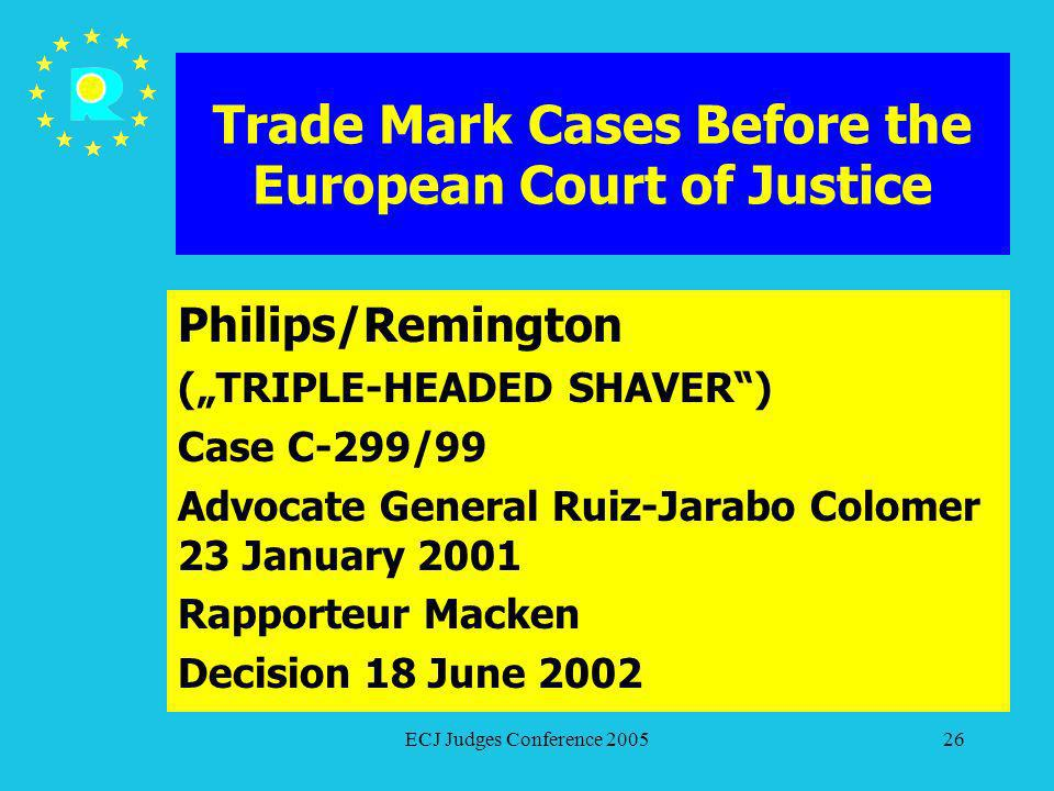 ECJ Judges Conference 200526 Trade Mark Cases Before the European Court of Justice Philips/Remington (TRIPLE-HEADED SHAVER) Case C-299/99 Advocate Gen