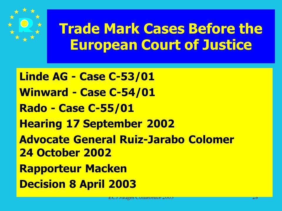 ECJ Judges Conference 200528 Trade Mark Cases Before the European Court of Justice Linde AG - Case C-53/01 Winward - Case C-54/01 Rado - Case C-55/01