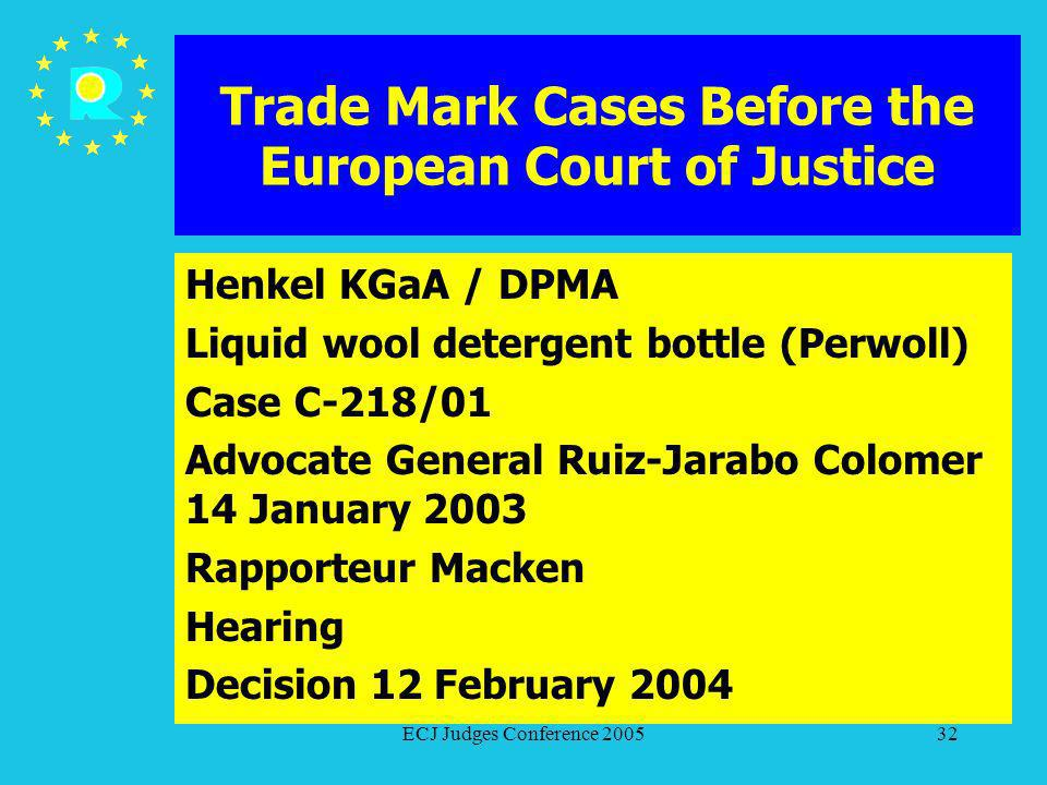 ECJ Judges Conference 200532 Trade Mark Cases Before the European Court of Justice Henkel KGaA / DPMA Liquid wool detergent bottle (Perwoll) Case C-21