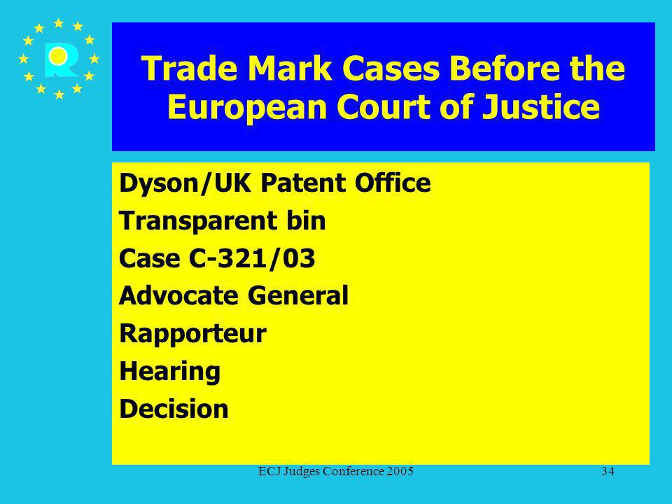ECJ Judges Conference 200534 Trade Mark Cases Before the European Court of Justice Dyson/UK Patent Office Transparent bin Case C-321/03 Advocate Gener