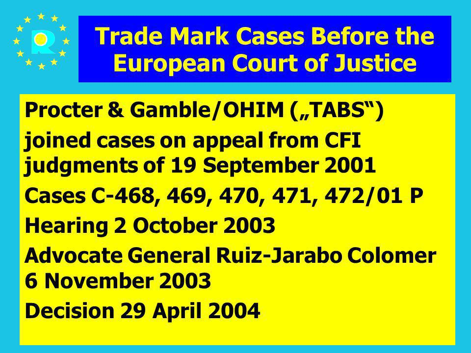 ECJ Judges Conference 200538 Trade Mark Cases Before the European Court of Justice Procter & Gamble/OHIM (TABS) joined cases on appeal from CFI judgme