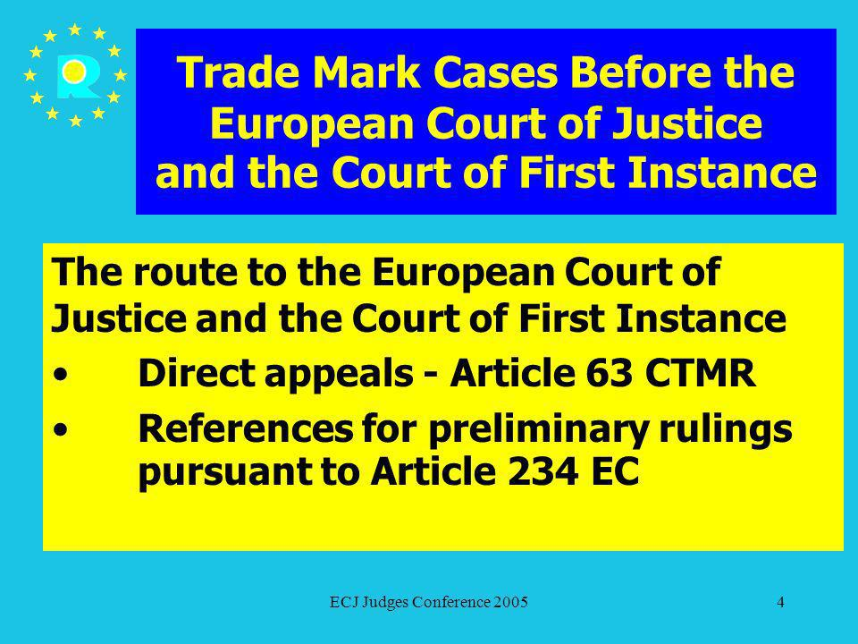 ECJ Judges Conference 20054 Trade Mark Cases Before the European Court of Justice and the Court of First Instance The route to the European Court of J
