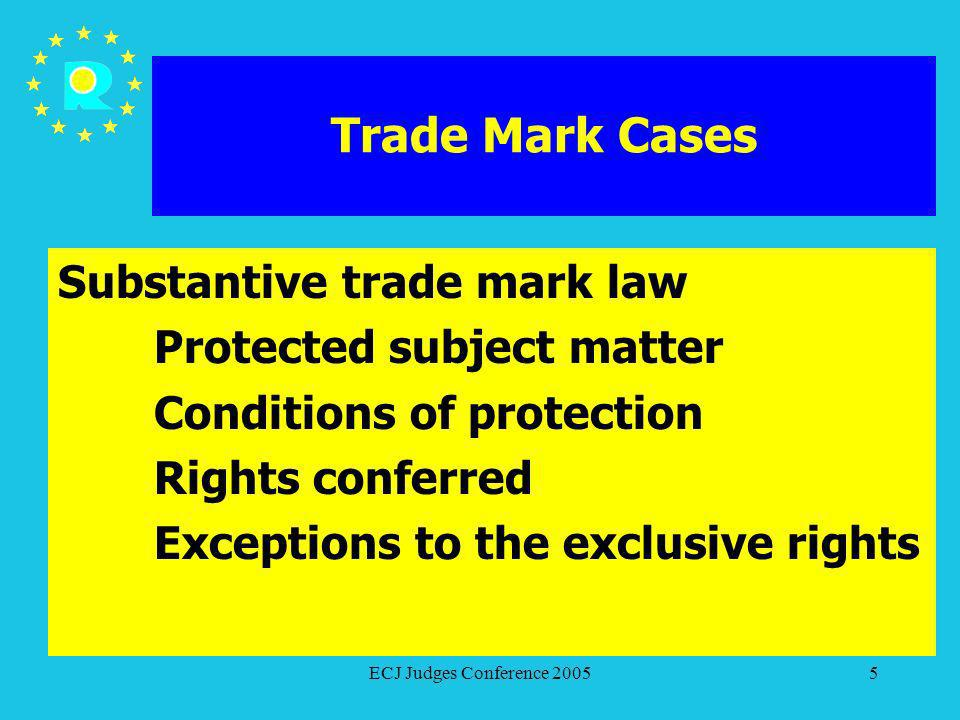 ECJ Judges Conference 20055 Trade Mark Cases Substantive trade mark law Protected subject matter Conditions of protection Rights conferred Exceptions