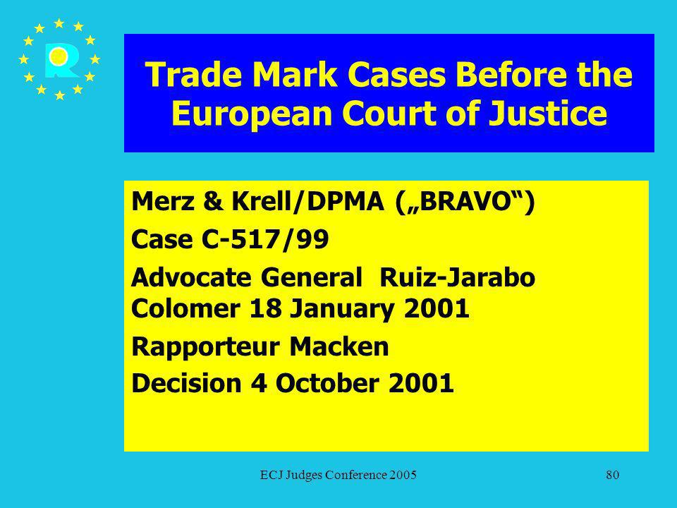 ECJ Judges Conference 200580 Trade Mark Cases Before the European Court of Justice Merz & Krell/DPMA (BRAVO) Case C-517/99 Advocate General Ruiz-Jarab
