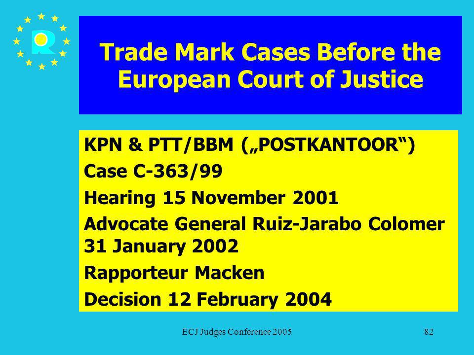ECJ Judges Conference 200582 Trade Mark Cases Before the European Court of Justice KPN & PTT/BBM (POSTKANTOOR) Case C-363/99 Hearing 15 November 2001