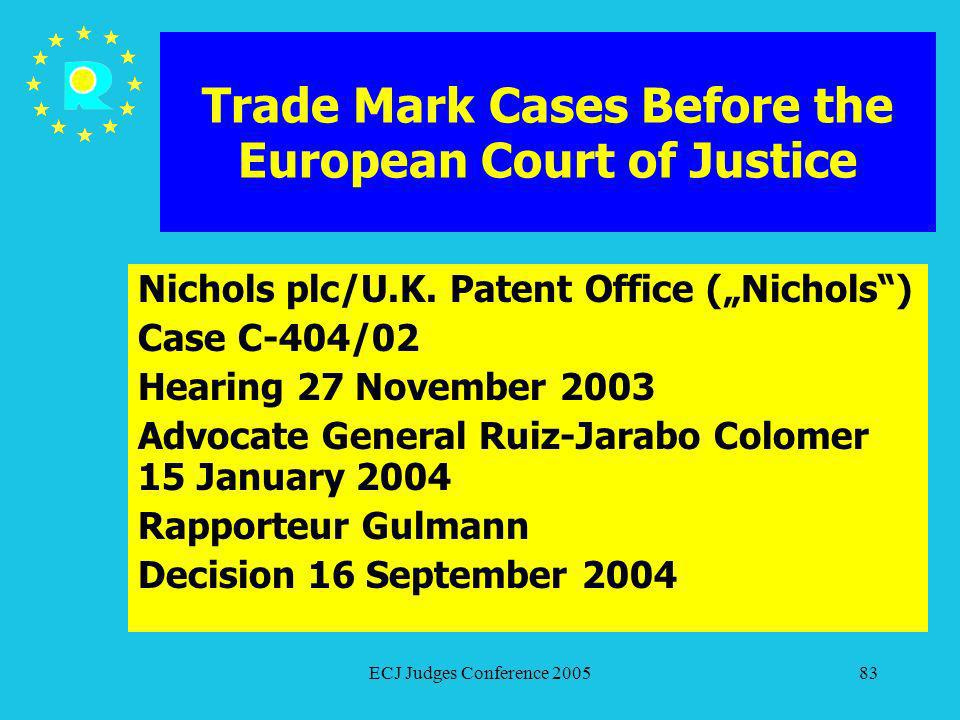 ECJ Judges Conference 200583 Trade Mark Cases Before the European Court of Justice Nichols plc/U.K. Patent Office (Nichols) Case C-404/02 Hearing 27 N