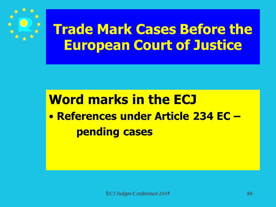 ECJ Judges Conference 200586 Trade Mark Cases Before the European Court of Justice Word marks in the ECJ References under Article 234 EC – pending cas