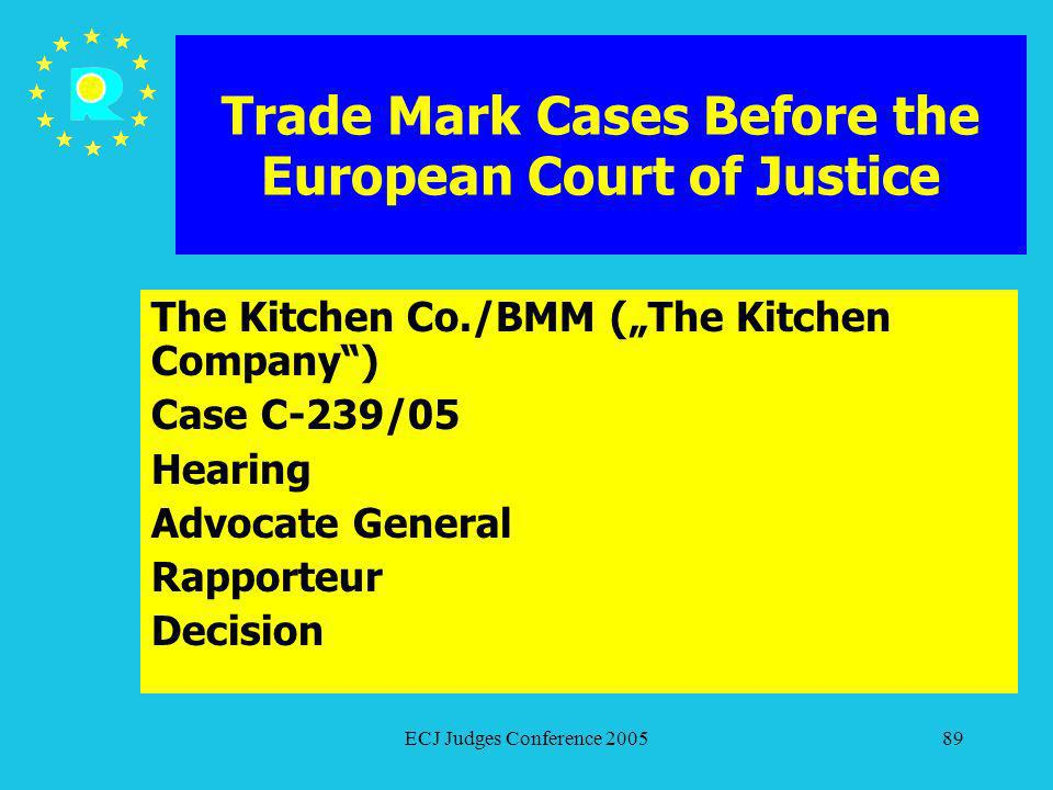 ECJ Judges Conference 200589 Trade Mark Cases Before the European Court of Justice The Kitchen Co./BMM (The Kitchen Company) Case C-239/05 Hearing Adv