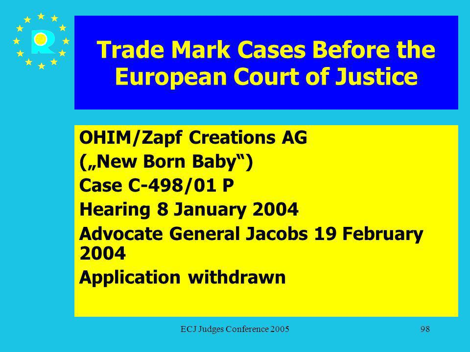 ECJ Judges Conference 200598 Trade Mark Cases Before the European Court of Justice OHIM/Zapf Creations AG (New Born Baby) Case C-498/01 P Hearing 8 Ja