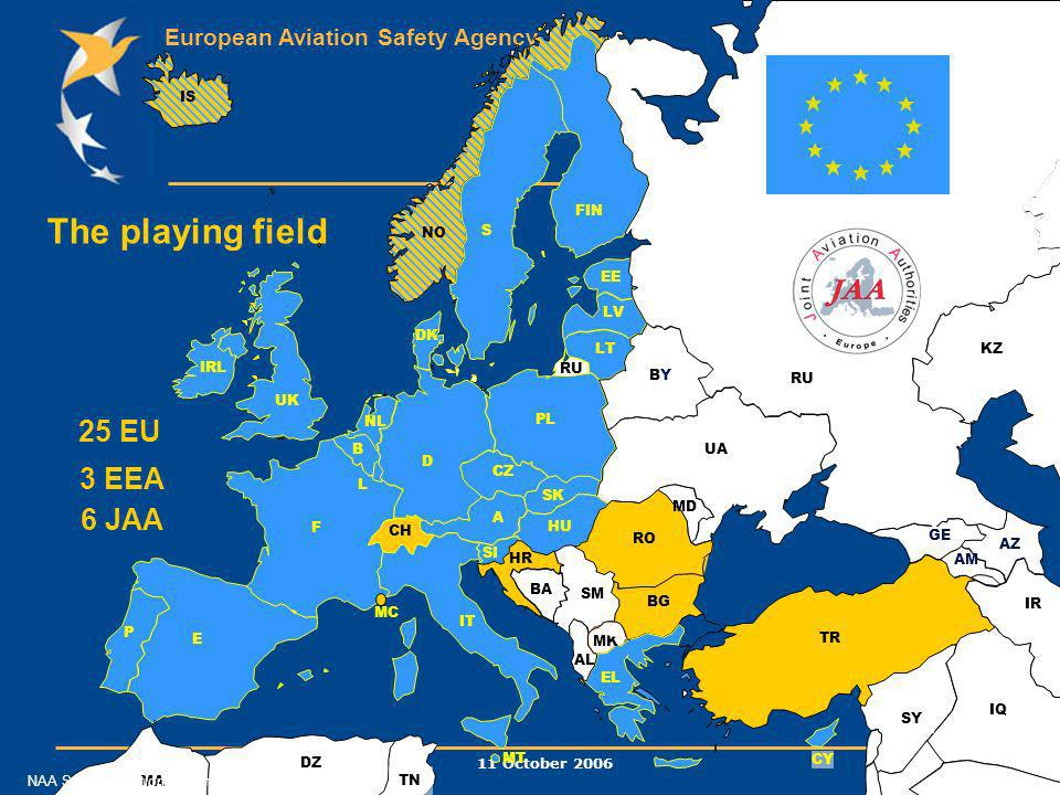 European Aviation Safety Agency 11 October 2006 12 FIN IS GE AM AZ EE UA MD TR CY F LV LT B NL D UK IRL BYBY RO AL MK BG EL CH IT A HU SM E P DK NO S