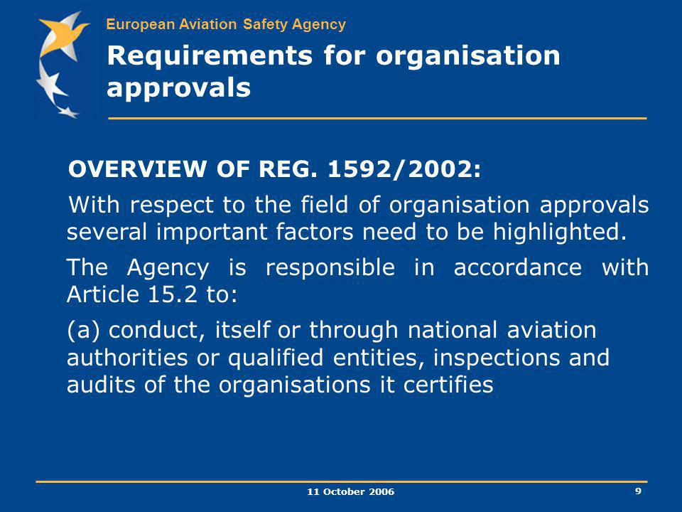 European Aviation Safety Agency 11 October 2006 9 Requirements for organisation approvals OVERVIEW OF REG. 1592/2002: With respect to the field of org