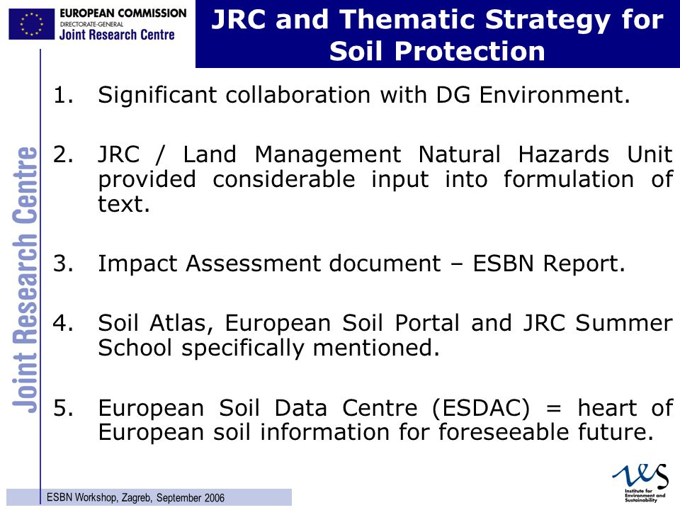 13 ESBN Workshop, Zagreb, September 2006 1.Significant collaboration with DG Environment.